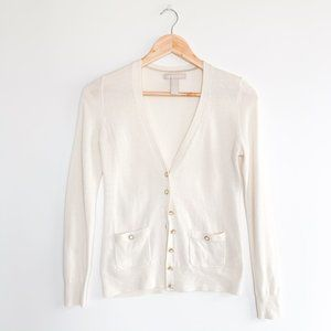 Banana Republic White Cardigan Sweater